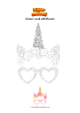 Coloring page Unicorn mask with flowers