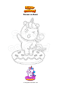 Coloring page Unicorn on donut
