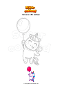 Coloring page Unicorn with balloon