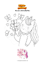 Coloring page Unicorn with butterflies