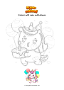 Coloring page Unicorn with cake and balloons