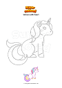 Coloring page Unicorn with heart