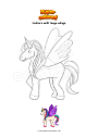 Coloring page Unicorn with large wings