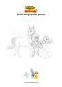 Coloring page Unicorn with prince and princess