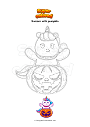 Coloring page Unicorn with pumpkin