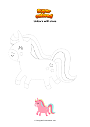 Coloring page Unicorn with stars