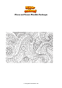 Coloring page Waves and flowers Mandala Zentangle