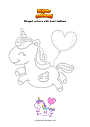 Coloring page Winged unicorn with heart balloon