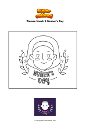 Coloring page Woman March 8 Women's Day