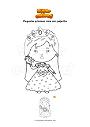 Dibujo para colorear Pequeña princesa niña con pajarito