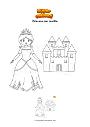 Dibujo para colorear Princesa con castillo