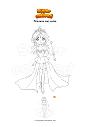 Dibujo para colorear Princesa con cetro