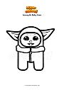 Disegno da colorare Among Us Baby Yoda