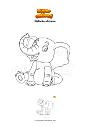 Disegno da colorare Elefante africano