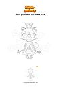 Disegno da colorare Gatto principessa con corona d'oro