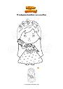 Disegno da colorare Principessa bambina con uccellino