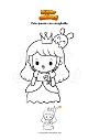 Disegno da colorare Principessa con coniglietto