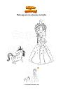 Disegno da colorare Principessa con unicorno cucciolo